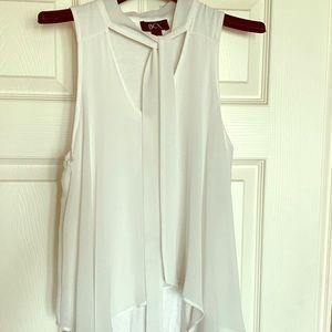 White Cotton & Sheer Sleeveless Blouse